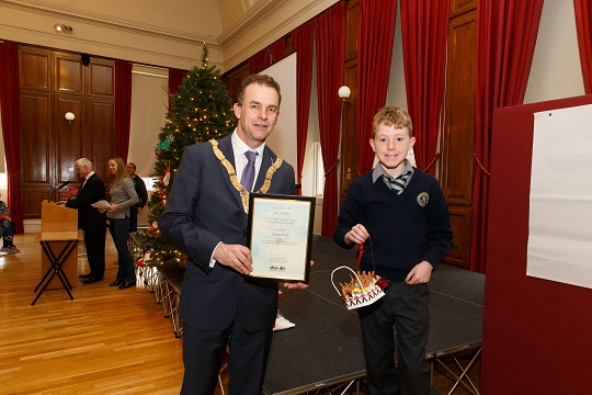 7th December 2017 - Pictured at the presentation of prizes for Dún Laoghaire-Rathdown County's Recycled Christmas Decoration Competition which encouraged schoolchildren from across the county to make use of recyclable materials were, left to right,  Photo by Peter Cavanagh Photography No Reproduction Fee
