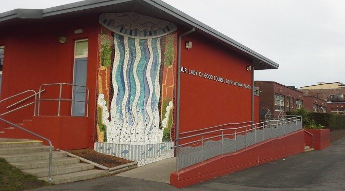 Mosaic and school hall